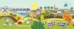 countryside life children illustration - stock illustration