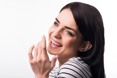 Smiling girl having good mood Stock Photos