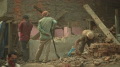 Nepal 1 Year After the Earthquake. Working on the Ruins 4K - stock footage