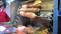 Turkish fast food kokorec Stock Footage