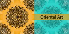 Invitation Cover Based Oriental Art Print. Yoga Ornament, kaleidoscopic yantra - stock illustration