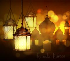 Intricate Arabic lamps with lights Piirros