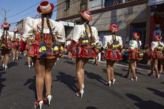 ARICA, CHILE - JANUARY 23, 2016: Caporales Dance Group at the Carnaval Andino. - stock photo