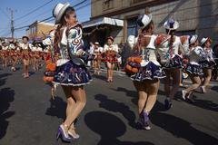 ARICA, CHILE - JANUARY 23, 2016: Caporales Dancers at the Carnaval Andino. Stock Photos