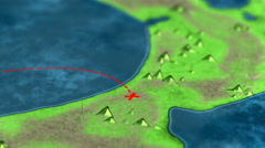 Red lines follow travel path on 3D view of vintage island treasure map Stock Footage