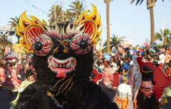 ARICA, CHILE - JANUARY 23, 2016: Morenada Dance Group at the Carnaval Andino. Stock Photos