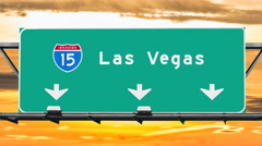 Las Vegas Interstate 15 Freeway Sign with Sunrise Sky Time Lapse Stock Footage