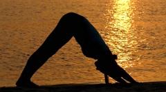 Girl Doing the Pose Downward-Facing Dog. Yoga. Stock Footage