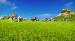 Dairy cows graze on alpine meadow Stock Illustration