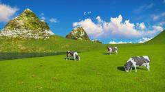 Mottled cows graze on alpine pasture - stock illustration