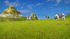 Cows graze on mountain pasture - stock illustration