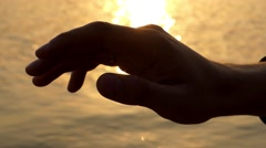 A Hand Touches Air. Beautiful Close up Shot. Stock Footage