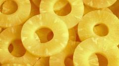 Juicy Pineapple Rings Rotating Stock Footage