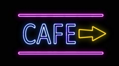 Cafe and Arrow Neon Sign in Retro Style Turning On - stock footage