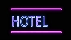 Hotel and Arrow Neon Sign in Retro Style Turning On Stock Footage
