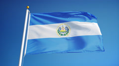 El Salvador flag in slow motion seamlessly looped with alpha Stock Footage