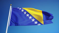 Bosnia and Herzegovina flag in slow motion seamlessly looped with alpha - stock footage