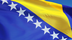 Bosnia and Herzegovina flag in slow motion seamlessly looped with alpha Stock Footage