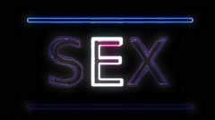 Stock Video Footage of SEX Neon Sign in Retro Style Turning On