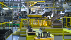 Car Production Plant. Car Manufacturing. Work in Process Stock Footage