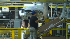 Sonveyor Car Production. Car Manufacturing. Working. Work in Process Stock Footage