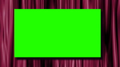 Green screen on deep pink satin theater curtains Stock Footage