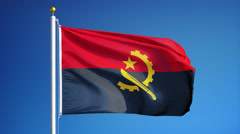 Angola flag in slow motion seamlessly looped with alpha - stock footage