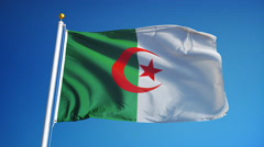 Algeria flag in slow motion seamlessly looped with alpha Stock Footage