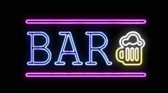 BAR Sign Neon Sign in Retro Style Turning On - stock footage