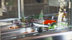 Impose Salad. Food Distribution Table. Canteen Stock Footage