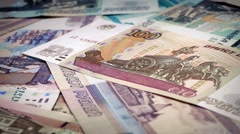 Russian Ruble Banknotes Rotating Stock Footage