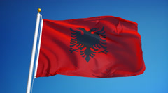 Albania flag in slow motion seamlessly looped with alpha Stock Footage