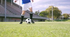 Football player controlling the ball Stock Footage