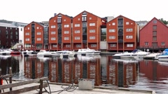 Exterior of the historical wooden buildings in Trondheim, Norway Stock Footage