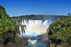 Iguazu Falls, on the Border of Brazil, Argentina and Paraguay Stock Photos