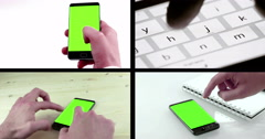 Multiscreen scene with man hands using a smart phone for write text messaging Stock Footage
