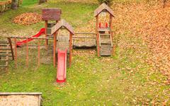 Playground playpark in fall autumn season. Kuvituskuvat