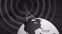 Retro Radio Tower on rotating globe and emitting radio waves - close tilted Stock Footage