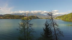 Aerial view of beautiful lake in Bled Stock Footage