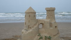 Sandcastle at the beach Stock Footage