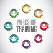 Workshop training people network diagram sign - stock illustration