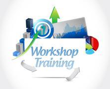 Workshop training business graph sign concept - stock illustration