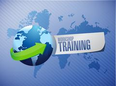 Workshop training globe sign concept - stock illustration