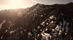 Aerial View: Pan Of The Washington Cascades Near Stevens Pass Stock Footage