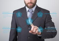 Technology, internet and networking concept - businessman pressing technical Kuvituskuvat