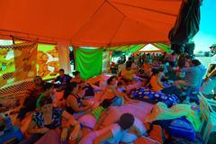 Portoviejo, Ecuador - April, 18, 2016: Tents for the refugees after 7.8 Stock Photos