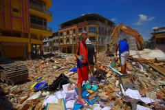 Portoviejo, Ecuador - April, 18, 2016: Rescue team making recovery efforts after Stock Photos
