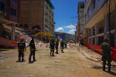 Portoviejo, Ecuador - April, 18, 2016: Rescue team making recovery efforts after - stock photo