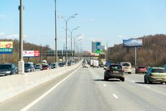 Moscow, Russia -  April 08.2016. Moscow Ring Road, north part - stock photo