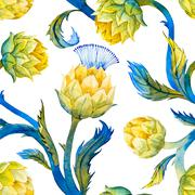 Watercolor art nouveau artichoke pattern - stock illustration